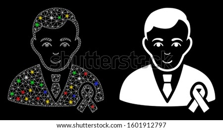 Glossy mesh gentleman with mourning ribbon icon with glow effect. Abstract illuminated model of gentleman with mourning ribbon. Shiny wire frame triangular mesh gentleman with mourning ribbon icon.