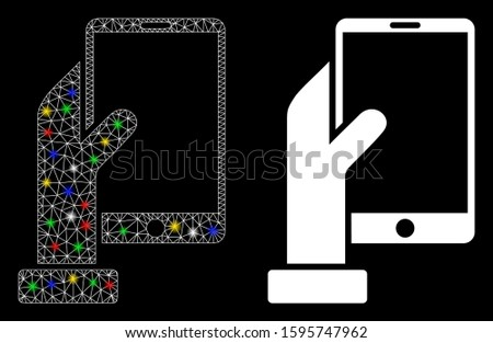 Glossy mesh hand holds smartphone icon with glow effect. Abstract illuminated model of hand holds smartphone. Shiny wire carcass polygonal network hand holds smartphone icon.