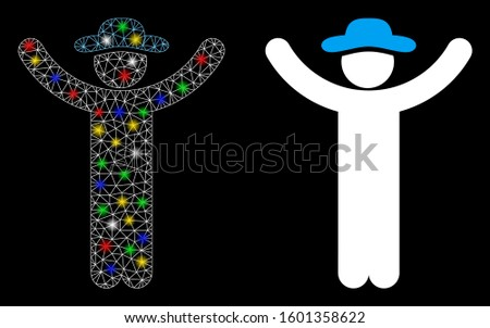 Glossy mesh hands up gentleman icon with glitter effect. Abstract illuminated model of hands up gentleman. Shiny wire carcass triangular mesh hands up gentleman icon.