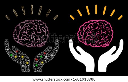 Glossy mesh human brain knowledge icon with glitter effect. Abstract illuminated model of human brain knowledge. Shiny wire frame polygonal network human brain knowledge icon.