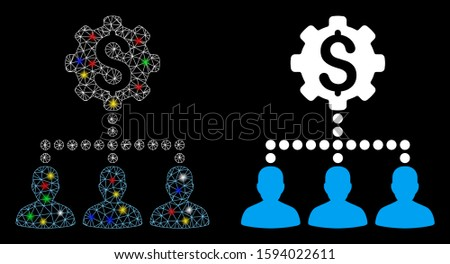 Glossy mesh industrial bank clients icon with sparkle effect. Abstract illuminated model of industrial bank clients. Shiny wire carcass triangular mesh industrial bank clients icon.