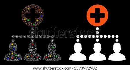 Glossy mesh medical client links icon with lightspot effect. Abstract illuminated model of medical client links. Shiny wire frame triangular mesh medical client links icon.