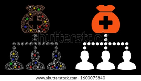 Glossy mesh medical fund clients icon with sparkle effect. Abstract illuminated model of medical fund clients. Shiny wire frame polygonal mesh medical fund clients icon.