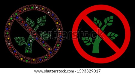 Glossy mesh no botany icon with glow effect. Abstract illuminated model of no botany. Shiny wire frame triangular mesh no botany icon. Vector abstraction on a black background.