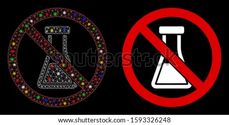 Glossy mesh no chemical substance icon with glare effect. Abstract illuminated model of no chemical substance. Shiny wire carcass triangular mesh no chemical substance icon.