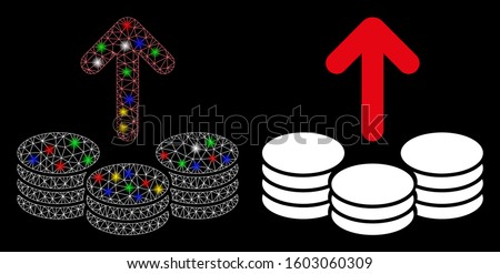 Glossy mesh payout coins icon with sparkle effect. Abstract illuminated model of payout coins. Shiny wire frame polygonal mesh payout coins icon. Vector abstraction on a black background. Stock photo ©