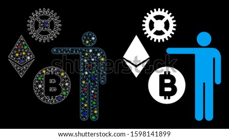 Glossy mesh person show cryptocurrency icon with glitter effect. Abstract illuminated model of person show cryptocurrency. Shiny wire carcass triangular mesh person show cryptocurrency icon.