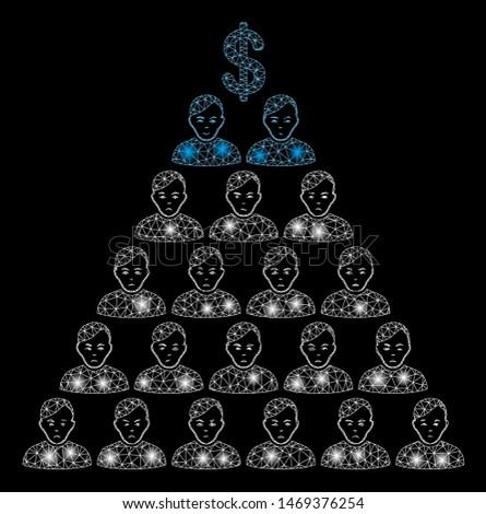 Glossy mesh Ponzi pyramid scheme with glare effect. Abstract illuminated model of Ponzi pyramid scheme icon. Shiny wire carcass polygonal mesh Ponzi pyramid scheme.