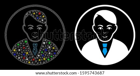 Glossy mesh rounded gentleman icon with glitter effect. Abstract illuminated model of rounded gentleman. Shiny wire carcass polygonal mesh rounded gentleman icon.