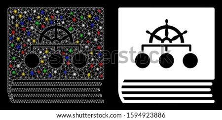 Glossy mesh ship guide book icon with glitter effect. Abstract illuminated model of ship guide book. Shiny wire frame triangular mesh ship guide book icon. Vector abstraction on a black background.