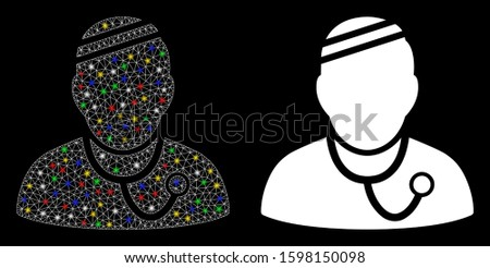 Glossy mesh sick physician icon with glare effect. Abstract illuminated model of sick physician. Shiny wire frame polygonal mesh sick physician icon. Vector abstraction on a black background.