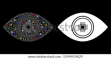 Glossy mesh smart vision eye icon with glare effect. Abstract illuminated model of smart vision eye. Shiny wire frame polygonal mesh smart vision eye icon. Vector abstraction on a black background.