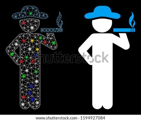 Glossy mesh smoking gentleman icon with sparkle effect. Abstract illuminated model of smoking gentleman. Shiny wire carcass polygonal mesh smoking gentleman icon.