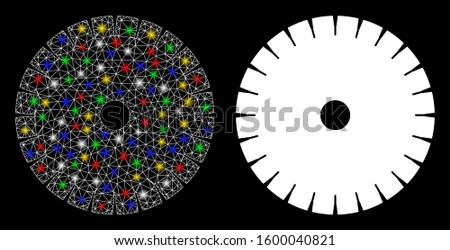Glossy mesh stone circular blade icon with glare effect. Abstract illuminated model of stone circular blade. Shiny wire frame polygonal mesh stone circular blade icon.