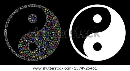 glossy mesh yin yang icon with