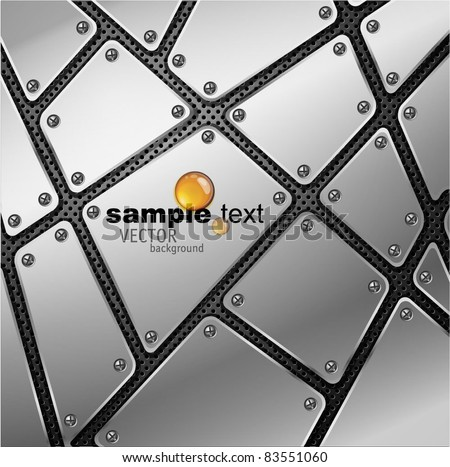 Glossy metal plate vector background with screw and rivets.