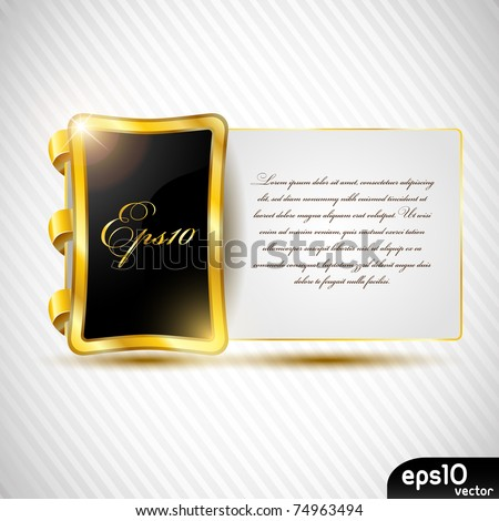 Glossy metal speech bubble with paper card (congratulation postcard)