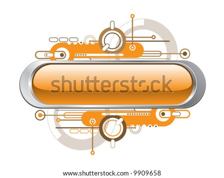 Glossy Metal Technology Text Button Banner - Vector - stock vector