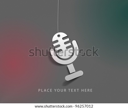 glossy mic icon, isolated on colorful background.