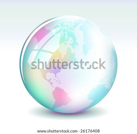 Glossy multicolored globe in a bubble
