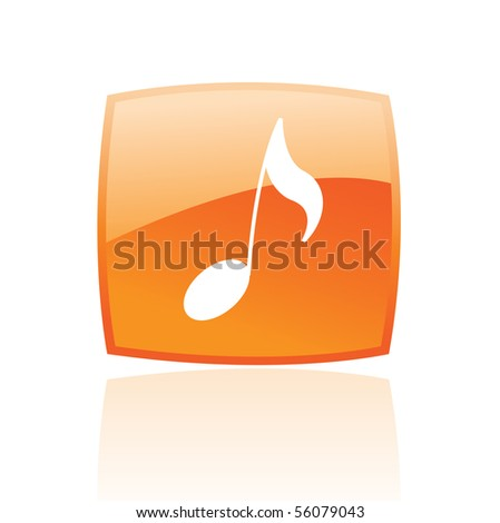 Glossy musical note in orange button isolated on white