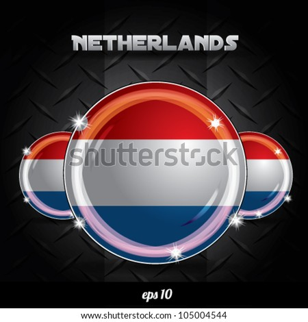 Glossy Netherlands flag vector