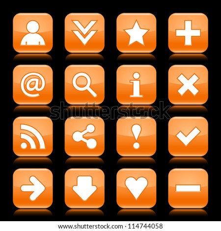 Glossy orange button with basic sign. Rounded square shape internet web icon with  color reflection on black background. This vector illustration saved 8 eps