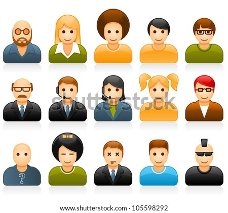 Glossy people avatars with different style and hairdo