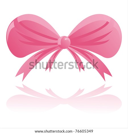 glossy pink bow on white