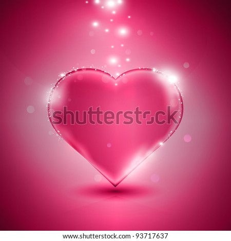 glossy pink heart on pink