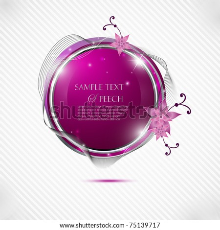 Glossy pink speech bubble with flowers
