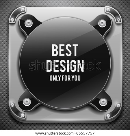 Glossy plate with metal shield on metal grid(vector illustration)