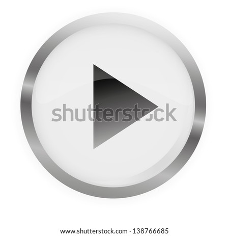 Glossy Play Button Gray,Vector illustration.