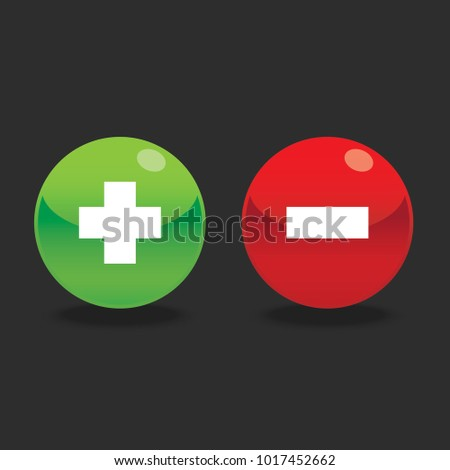 Glossy plus and minus round shape icons with shadow, green plus and red minus , vector, isolated on dark background