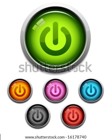 Glossy power button icon set in 6 colors - stock vector