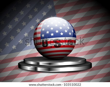 Glossy presentation of American Flag on presentation stage with seamless flag  background for 4th July  Independence Day and other occasions.Vector Illustration. EPS10.