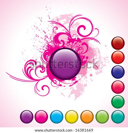 glossy purple button with swirl elements