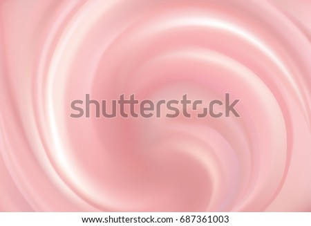 Glossy radial curvy fond with space for text in center. Whirl light red gel eddy design. Appetizing dairy fluid fresh mix of juicy fruits rose color: redcurrant, cowberry, raspberry, cranberry
