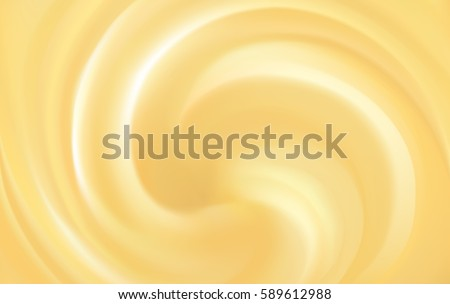 Glossy radial curvy fond with space for text. Whirl shiny beige eddy circular syrup surface. Smooth rotate citrus fruit cocktail fluid light golden color. Soft round jelly mix. Spin graphic pattern