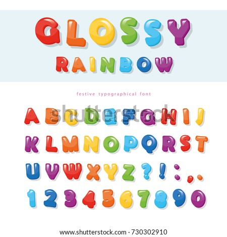 Glossy rainbow colored font design. Festive ABC letters and numbers.