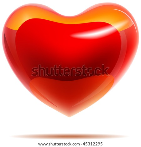 Glossy red heart with yellow reflections isolated on white. EPS10 with transparency.
