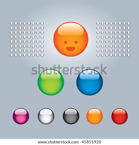 Glossy round colored buttons