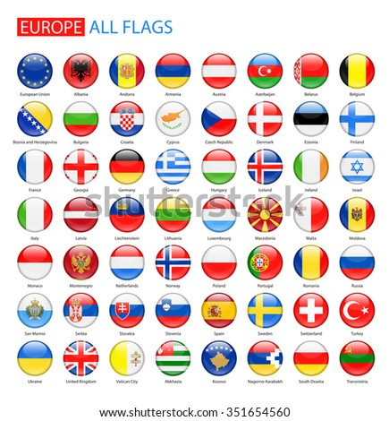 Glossy Round Flags of Europe - Full Vector Collection  #351654560