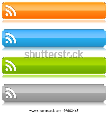 Glossy satin color buttons with RSS symbol on a white background