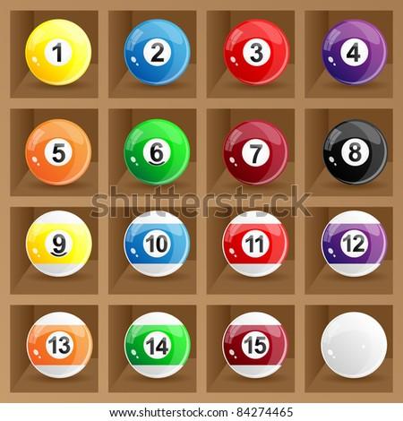 Glossy set of pool balls. Vector.