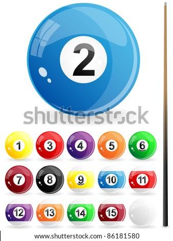 Glossy set of pool balls. Vector illustration.