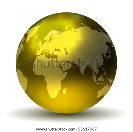 glossy shiny earth globe