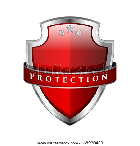 Glossy Shiny Red Vector Shield Protection Icon