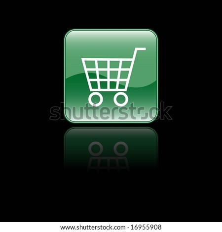 shopping cart icon. Glossy Shopping Cart Icon