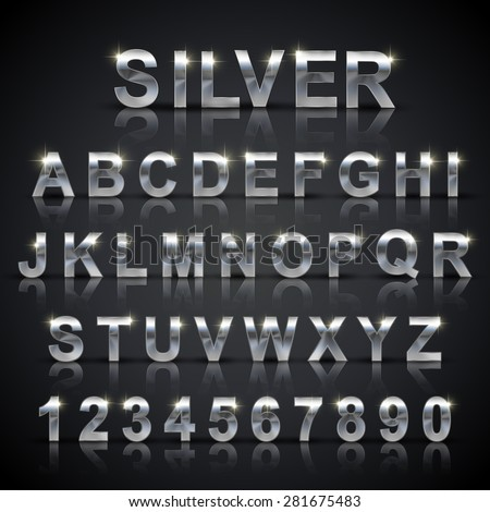 glossy silver font design set